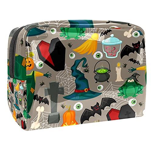 Bolsa cosmética de PVC, ojos blanco y negro linda bolsa de aseo con cremallera, bolsa organizadora para viajes, baño y organización, Murciélago mágico aterrador, 18.5x7.5x13cm/7.3x3x5.1in,