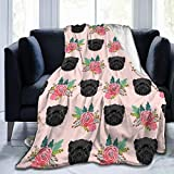 Yulian-ltd Flannel Fleece Blanket 50' x 60', All Season Affenpinscher Florals Dog Pattern Throw Blanket for Bed, Couch, Car, Office, Camping