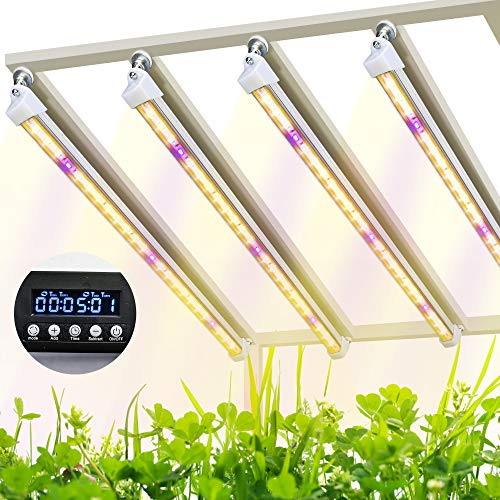 MIXC LED Plant Grow Light Strips Bars with Timer Auto Turn On Off, Sunlike 96 LEDs Grow lamp 5 Levels Brightness Dimmable for Indoor Plants Starting Seedling Succulent White Full Spectrum Growth Lamp