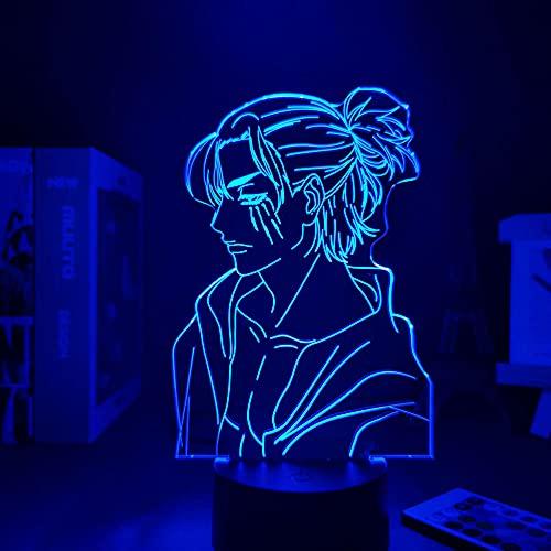 Lámpara de ilusión 3D, luz nocturna 3D, anime, Eren Yeager, lámpara LED de luz nocturna para niños, dormitorio, decoración, Eren Jaeger, regalo de Navidad, cumpleaños, lámpara de mesa, 7 colores