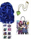 Queens Descendants Mal Wig and Accesorry Bundle Blue