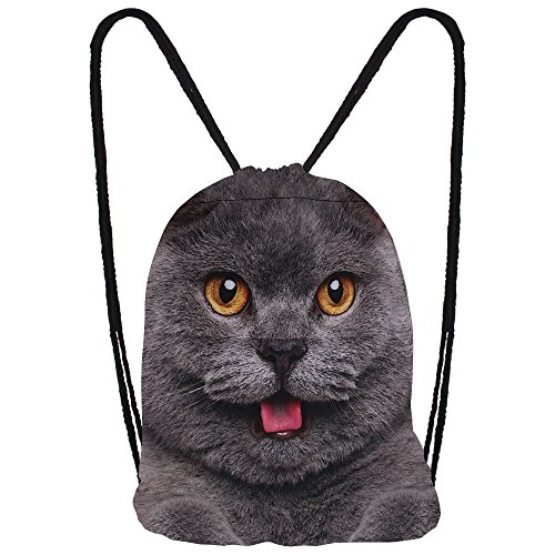 Hanessa Jutebeutel Geschenk zu Weihnachten mit Katzen Tier Aufdruck Sportbeutel Rucksack Beutel Tasche Gym Bag Gymsack Hipster Fashion Sport-Tasche Schwarze Katze