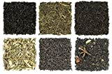 Solstice Loose Leaf Decaffeinated Tea Sampler: Six Flavors: Ceylon, Chai, Earl Grey, & Vanilla Black Teas, Ginger Lemon Herbal Tea, Sencha Green Tea. Decaf. Approximately 90+ Servings.