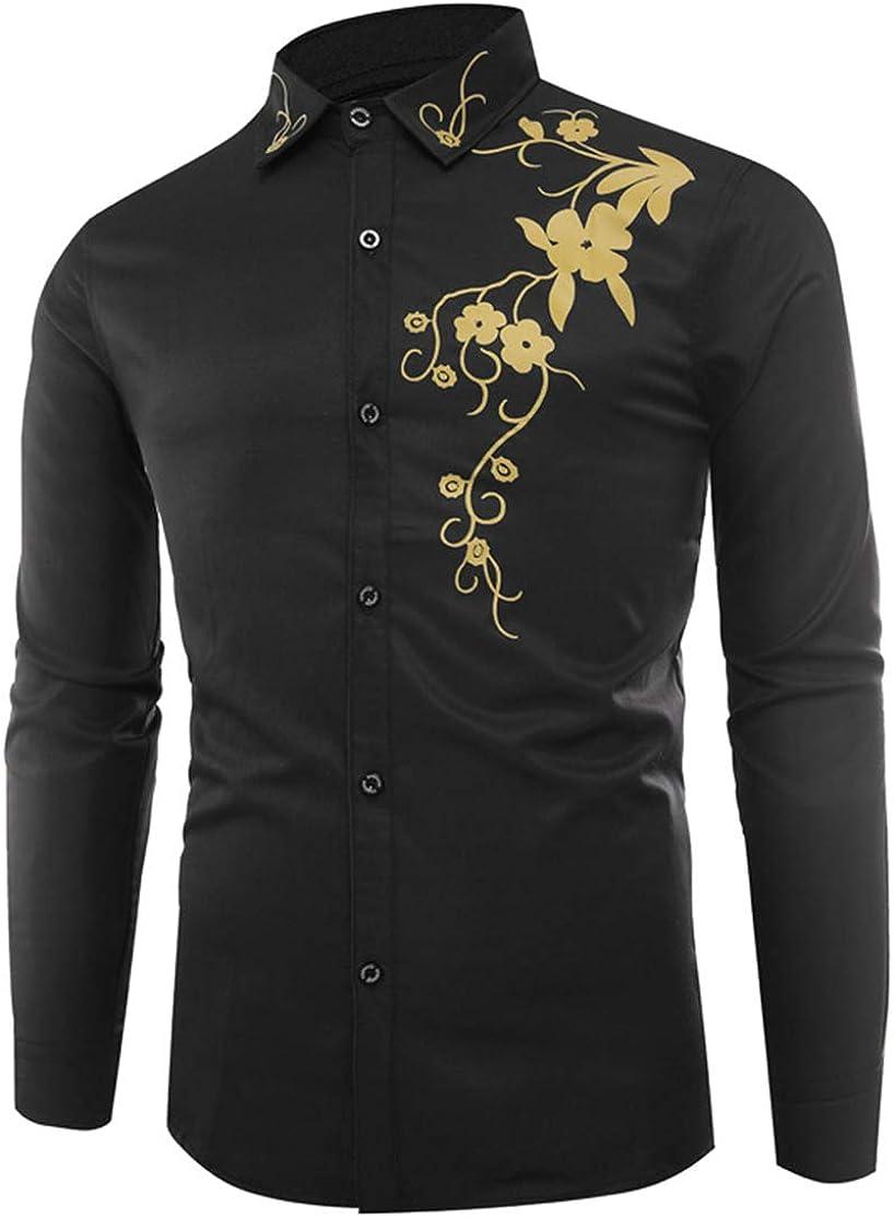 Men's Large Size Shirt Casual Fashion Classic Retro Flower Print Long Sleeve Shirt Shirt Simple Wild