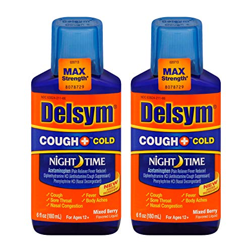 Delsym Adult Night Time Cough and Cold Liquid, Mixed Berry Flavor, 6 Ounce (Pack of 2)