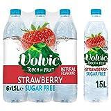 Volvic Touch of Fruit - Agua con sabor a fresa sin azúcar, 6 x 1,5 litros