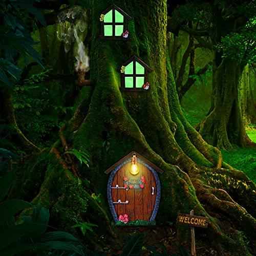 Haus Miniatur Fenster und Tür mit Streulampe Glühen in Dunklen Feen Schlaftür und Fenster Hof Garten Skulptur für Bäume Dekoration Garten Rasen Ornament (Stein Stil)