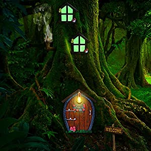 home miniature window and door with litter lamp tree face outdoor glow in dark fairies sleeping door and windows yard garden sculpture for trees decoration garden lawn ornament stone style
