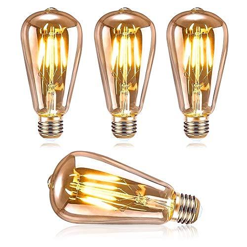 DASIAUTOEM Ampoule LED E27 Vintage, Ampoule LED Edison ST64 4W Retro Edison Ampoule Vintage Décorative Lampe Nostalgiques Antique LED Ampoules Blanc Chaud, Idéal pour la Maison, Bars, Café, Restaurant