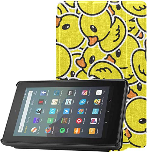 Funda Protectora Fire 7 Funda Protectora de Goma Duck Repeat Wallpaper Bufanda Funda para Tableta Kindle Fire HD para Tableta Fire 7 (novena generación, versión 2019) Ligera con Reposo automático/a