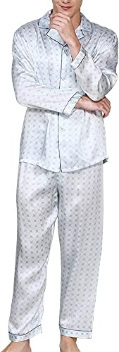 HUIFEI Ensemble De Pyjama Blanc pour Hommes Chemise en Tissu 100% Soie Pantalon à Manches Longues Deux Tenues pour Hommes à La Maison (Couleur   blanc, Taille   M)