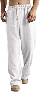 TOPBIGGER Men's Trousers Linen Loose Casual Breathable Outdoor Summer Sportswear