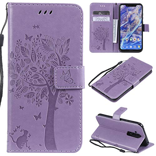 CMID Cover Nokia 8.1, PU Cuoio Portafoglio Custodia Libro Antiurto in Piedi Protettiva [Carta Credito] Case per Nokia 8.1 (Viola)