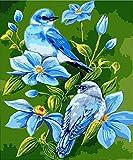 Pintura por Números DIY Pintar por Numeros para Adultos Niños (Flores y pájaros azules) Pintura al óleo Kit con Pinceles y Pinturas, Lienzo Regalo de Pintura 40 x 50 cm Sin Marco