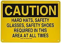 Brady 128547個人用保護具サイン、凡例「ハード帽子、安全メガネ、常に安全靴」、10インチの高さ、14インチの幅、黄色の黒