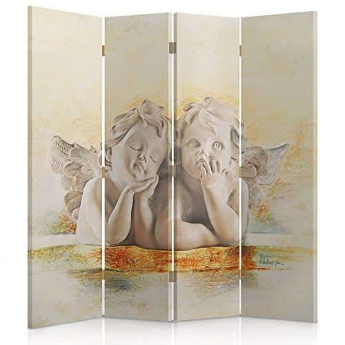 Feeby Frames. De gedrukte op canvas canvas wandschermen, decoratieve scheidingswand, engels, wit, grijs, oranje 2-seitiger 145x180 cm 145 x 180-maat-2