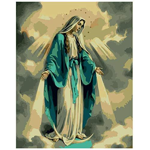 Qwerlp Digital Diy Pattern Pintura Gran Y Amable Figura Virgen Decoraciones Para El Hogar-40X50Cm, Frameless