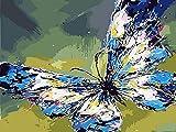 Ojmikmg Pintar por Numeros para Adultos Niños Principiantes -Pintura por Números Mariposa con Pinceles y Pinturas DIY Conjunto 40 x 50 cm Sin Marco