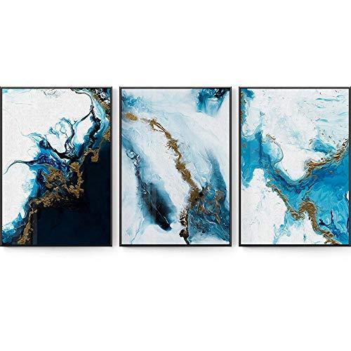 RuYun Blaues Meer Ölgemälde Wandkunst Leinwand Malerei Morden Abstrakt Glam Poster Print Wandbild für Wohnzimmer Dekor 52x75cm × 3 Kein Rahmen