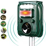 Solar Ultrasonic Animal Repeller, with Motion Activated and Flashing LED Lights...