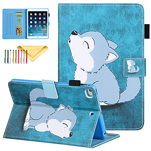 Uliking iPad Mini Case, iPad Mini 2 3 4 5 Case, PU Leather Cover with Pen Holder, Stand Smart Case Auto Sleep Wake for iPad Mini 5th/4th/3rd/2nd/1st 7.9 inch Tablet, Cute Wolf