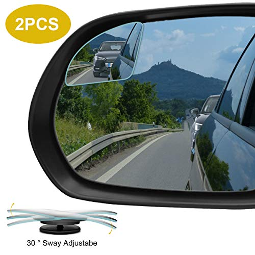 POMFW Blind Spot Mirror, Rearview Convex Side Mirrors for Cars SUV Truck Van Stick on 3M Adhesive, Rear View HD Glass Frameless Sway Rotate Adjustable Wide Angle, 2 inch Fan-Shaped 2pcs