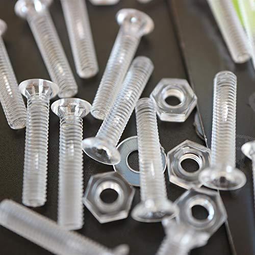 50 x tuercas y tornillos avellanados con agujero transversal, plástico acrílico transparente, M3 x 16mm - Tornillos de plástico acrílico, transparente tornillos de cabeza plana, acrílico tornillos