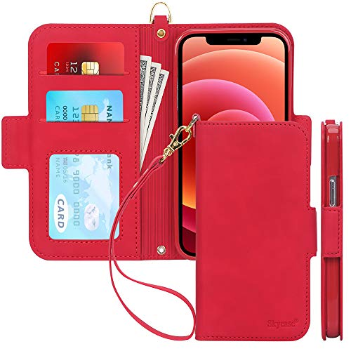Skycase Compatible for iPhone 12 Mini Case 5G,[RFID Blocking] Handmade Flip Folio Wallet Case with Card Slots and Detachable Hand Strap for iPhone 12 Mini 5.4 inch 2020,FG-Red