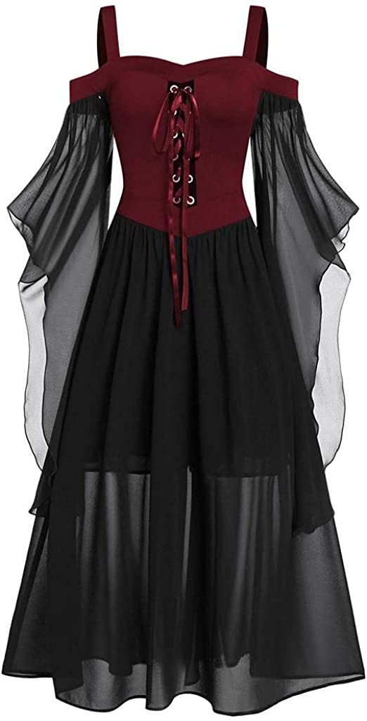 Womens Plus Size Cold Shoulder Butterfly Sleeve Lace Up Halloween Dress Irregular Mesh Lace up Dress Waist Gothic Dress