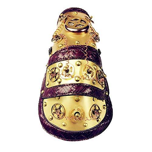 Sijux Gothic Steampunk Mechanische Handschuhe Arm, Antiker Arm Ring PU Lederband Gold Metall Manschette Bühnenkostüm,Gold,M