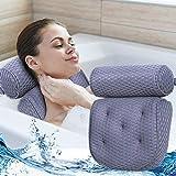 FINEW Almohada de bañera Premium, Cojín para el baño cómoda para el Cuello con 7 ventosas, Almohada de Lujo para bañera/SPA reposacabezas de Hombros, para hidromasaje y SPA en casa