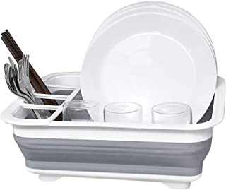 Dish Drainer Collapsible Dish Rack Dish Drying Drainer Learja Compact Dish Drainer for Small Kitchen, Camper, RV, Caravan, Travel Trailer(Gray and White)