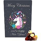 Hallingers 24 Pralinen-Adventskalender, mit/ohne Alkohol (300g) - Einhorn-Kalender (Advents-Karton) - zu Weihnachten Adventskalender Unicorn