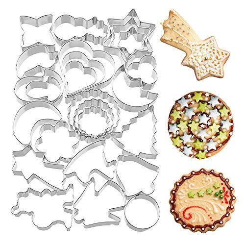 WENHAO 22 Stück Cookie Cutter DIY Edelstahl dreidimensional Backformen Keksausstecher Backausstecher Weihnachten Backform Set Plätzchenausstecher Ausstecher Weihnachten Keks Ausstechform (Metall)
