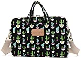 DACHEE Black Cactus Patten Canvas Laptop Shoulder Messenger Bag Case Sleeve for 14 Inch 15 Inch Laptop 15 Case Laptop Briefcase 15.6 Inch