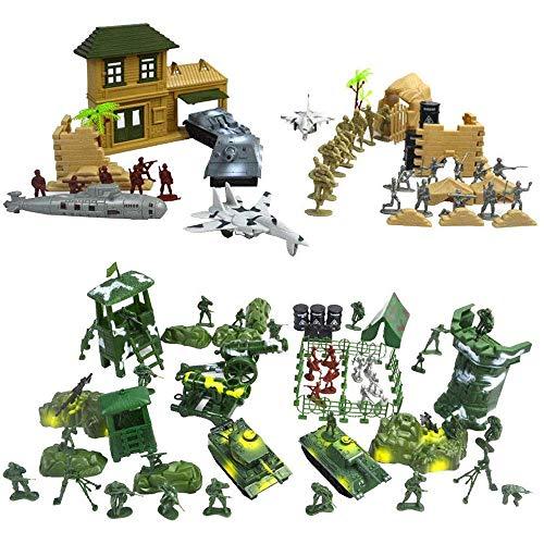 WYBD.Y Tragbares Militär-Grundspielzeug, 300 Teile/Satz Soldaten und Militärmodelle können Puppen und Zubehör, Soldaten, Panzer, Flugzeuge, U-Boote, Gewehre, Jungen-Geburtstagsgeschenk bewegen