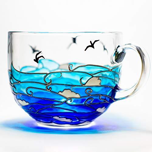 Large Coffee Mug Nautical Blue Waves Hand Painted Tea Drinks Cup 17 oz Ocean Themed Beach Wedding Favor