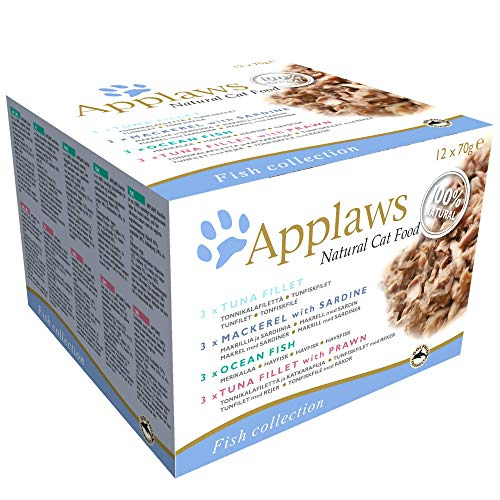 Applaws Wet Cat Food, Multipack Fish Selection in Broth, 12 x 70g