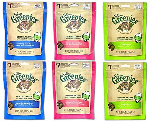 Pack Of 6 Bags Of 2.5Oz Feline Greenies. 2 Of Each Flavor: Chicken, Salmon And Oceanfish Blitz Nur Spec Cat