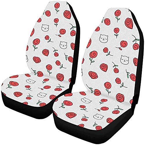 MOLLUDY Juego de 2 fundas de asientos para autos Doodle Rose Flower Ca