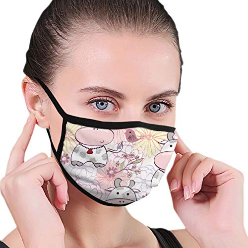 Funny Mouth Cover Dustproof Washable Reusable Stylish Floral With Cartoon Cow In Light Colors Protective Safety Warm Windproof for Women Men