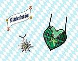 KarnevalsTeufel 2-TLG. Oktoberfestset, grüne Dirndltasche in Herzform und Edelweißkette, Wiesn
