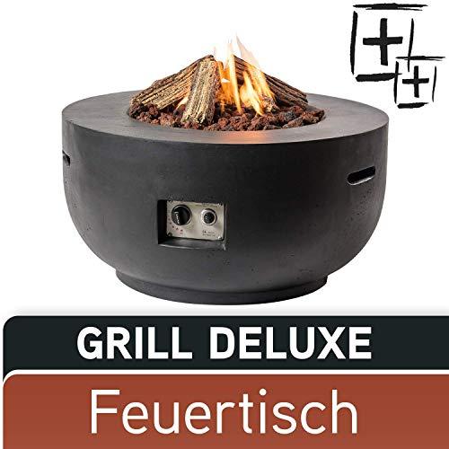 MANIA Feuertisch Grill Deluxe Set - Gas Feuerstelle ohne Rauch, Funken, Glut & Asche - Gaskamin Outdoor mit 19,5 kW in Betonoptik schwarz 91 x 91 x 46 cm - Gasfeuerstelle Terrassenkamin Kaminfeuer