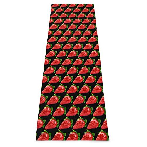 Strawberry Clipart Tapis de yoga épais antidérapant avec sangle de transport pour yoga, maison, gym, fitness, gymnastique