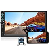 Upgraded 2 din Car Stereo - Camecho 7' inch Touch Screen in Dash Car Radio Video Multimedia Player MP5 Player TF USB FM Radio with iOS/Android Mirror Link Remote Control & Steering Wheel Control