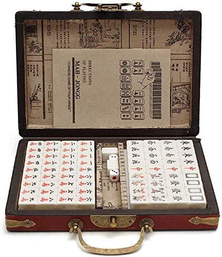 LLKK 144 mosaicos Mahjong,Juego de Mah-Jong,Juego de Mahjong numerado Chino,Juego de Mahjong Antiguo Chino portátil Juegos Familiares