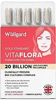 Wellgard Vitaflora for Women - Clinically Proven Bio Cultures, Targets Intimate Flora Imbalance Issues in 14 Days, Made in UK