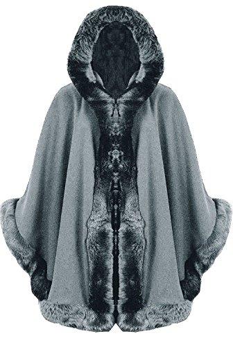 Lagenlook Cape poncho en laine à capuche en fausse fourrure pour femme - Style italien, Taille unique - Noir - Taille Unique