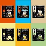 King Cup - Multibox Mixto, 6 Paquetes Surtidos de 10 Cápsulas, 2x Ginseng, 1x Matcha Green Tea, 1x Golden Milk, 1x Jengibre y Limón, 1x Capuchino Ginseng, 60 Cápsulas para Sistema Nescafè Dolce Gusto