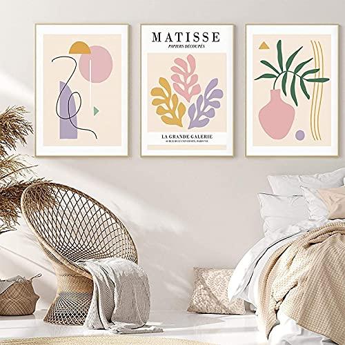 LangGe Pintura de la Lona 3 Piezas 50x70 cm sin Marco Bohemio Matisse Planta Abstracta Flor geométrica Arte de la Pared Pintura de la Lona Imagen Sala de Estar decoración del hogar